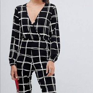 ASOS DESIGN wrap jumpsuit in grid check